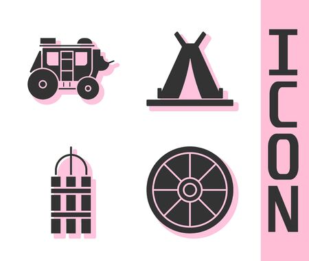 Set Old wooden wheel, Western stagecoach, Detonate dynamite bomb stick and Indian teepee or wigwam icon. Vector.