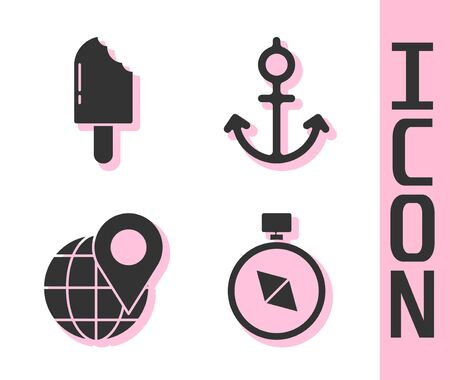 Set Compass, Ice cream, Location on the globe and Anchor icon. Vector.