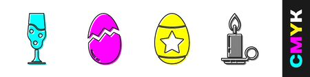 Set Wine glass, Broken egg, Easter egg and Burning candle in candlestick icon. Vector. 版權商用圖片 - 148000266