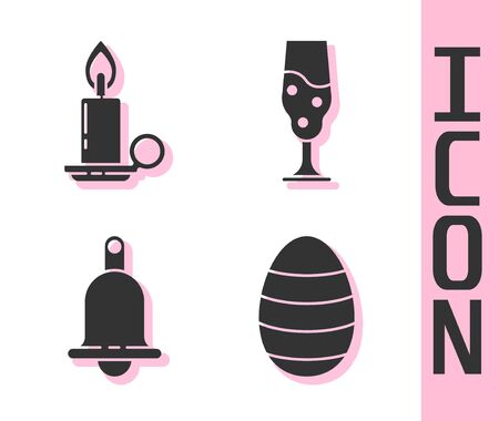 Set Easter egg, Burning candle in candlestick, Ringing bell and Wine glass icon. Vector.