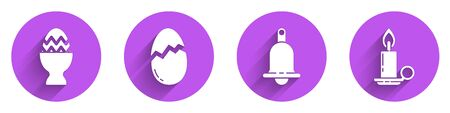 Set Easter egg on a stand, Broken egg, Ringing bell and Burning candle in candlestick icon with long shadow. Vector.