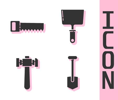 Set Shovel, Hand saw, Hammer and Putty knife icon. Vector.