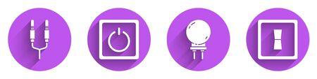 Set Audio jack, Electric light switch, Light emitting diode and Electric light switch icon with long shadow. Vector