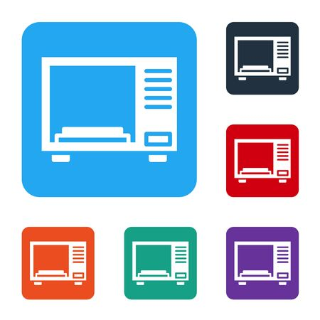 White Microwave oven icon isolated on white background. Home appliances icon. Set icons in color square buttons. Vector Illustration Illustration