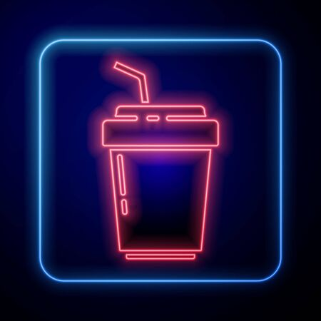 Glowing neon Coffee cup to go icon isolated on blue background. Vector. Illustration