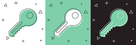 Set Key icon isolated on white and green, black background. Vector. Illustration