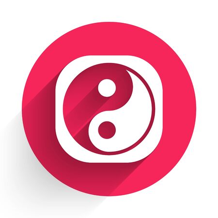 White Yin Yang symbol of harmony and balance icon isolated with long shadow. Red circle button. Vector. Illustration Иллюстрация
