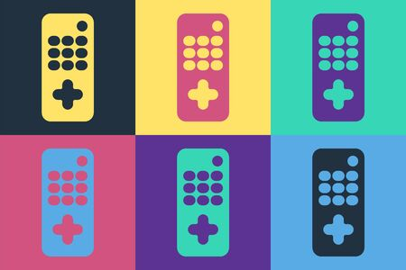 Pop art Remote control icon isolated on color background. Vector. Illustration