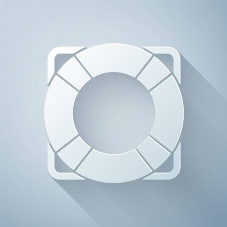 Paper cut Lifebuoy icon isolated on grey background. Lifebelt symbol. Paper art style. Vector. Illustration