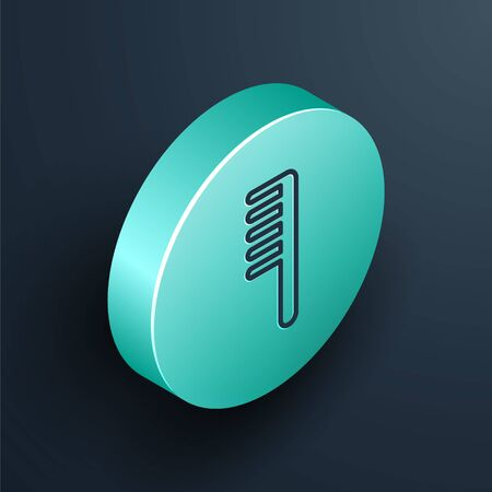 Isometric line Hairbrush icon isolated on black background. Comb hair sign. Barber symbol. Turquoise circle button. Vector. Illustration