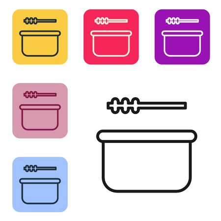 Black line Sauna bucket and ladle icon isolated on white background. Set icons in color square buttons. Vector. Illustration