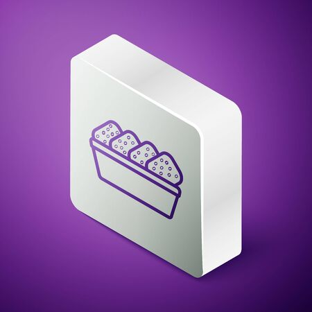Isometric line Chicken nuggets in box icon isolated on purple background. Silver square button. Vector. Illustration