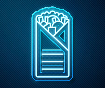 Glowing neon line Doner kebab icon isolated on blue background. Shawarma sign. Street fast food menu. Vector. Illustration