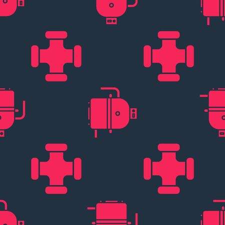 Set Industry metallic pipe and Electric boiler for heating water on seamless pattern. Vector