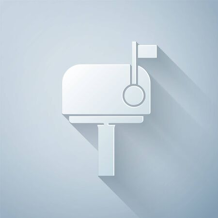 Paper cut Mail box icon isolated on grey background. Mailbox icon. Mail postbox on pole with flag. Paper art style. Vector. Illustration