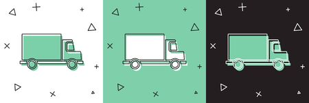 Set Delivery cargo truck vehicle icon isolated on white and green, black background. Vector. Illustration Illustration