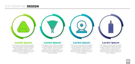 Set Sushi, Paper chinese folding fan, Gong and Firework. Business infographic template. Vector
