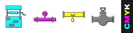 Set Well, Industry pipe and manometer, Broken pipe with leaking water and Industry pipe and valve icon. Vector.