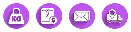Set Weight, Envelope with dollar symbol, Envelope and Delivery tracking icon with long shadow. Vector.