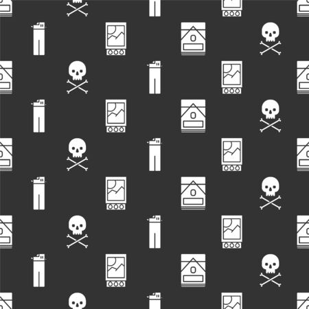 Set Cigarettes pack box, Skull on crossbones, Lighter and Open matchbox and matches on seamless pattern. Vector. Illustration