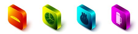 Set Isometric Bread loaf, Pizza, Khinkali on cutting board and Thermos container icon. Vector