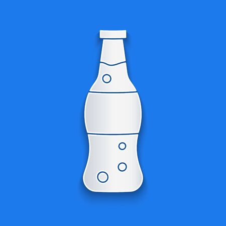 Paper cut Bottle of water icon isolated on blue background. Soda aqua drink sign. Paper art style. Vector Illustration