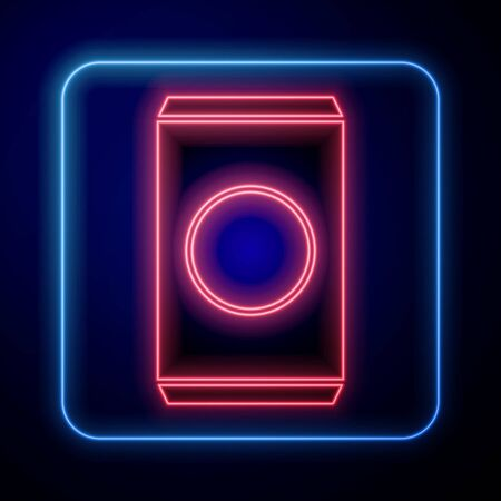 Glowing neon Soda can with drinking straw icon isolated on blue background. Vector Illustration Illustration