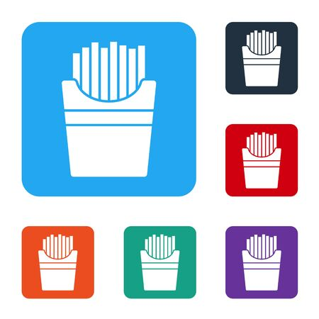 White Potatoes french fries in carton package box icon isolated on white background. Fast food menu. Set icons in color square buttons. Vector. Illustration Illustration