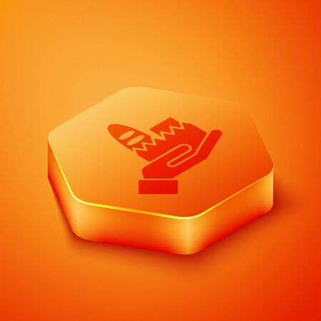 Isometric Online ordering and fast food delivery icon isolated on orange background. Orange hexagon button. Vector. Illustration