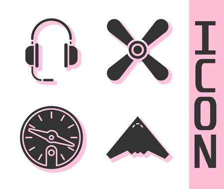 Set Jet fighter, Headphones with microphone, Compass and Plane propeller icon. Vector. Illustration