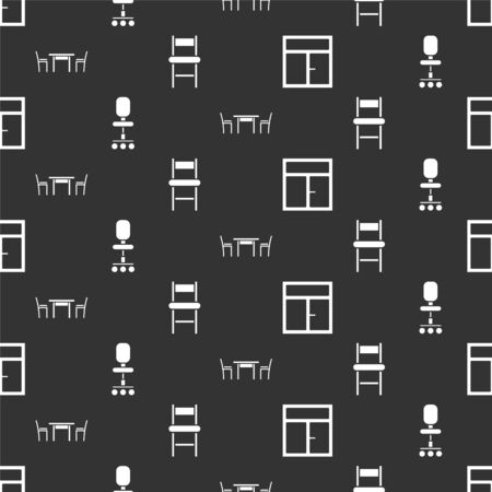 Set Window in the room, Office chair, Wooden table with chair and Chair on seamless pattern. Vector