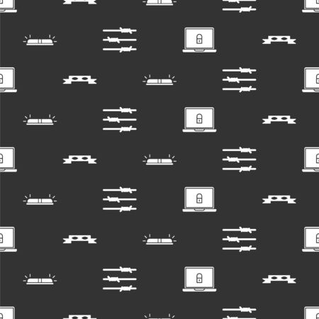 Set Laptop and lock, Thief eye mask, Flasher siren and Barbed wire on seamless pattern. Vector.
