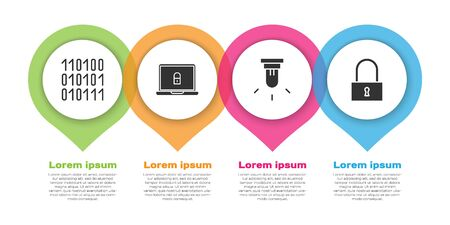 Set Binary code, Laptop and lock, Motion sensor and Lock. Business infographic template. Vector. Иллюстрация