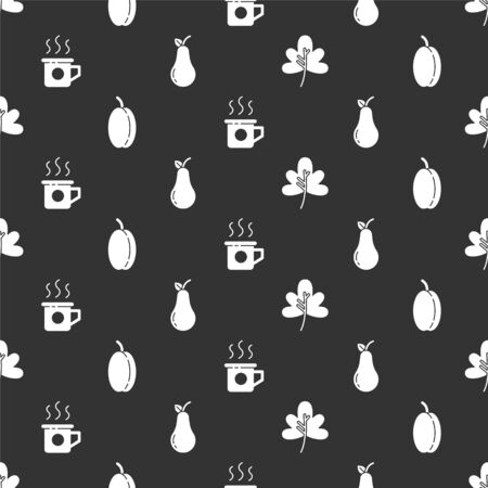 Set Leaf or leaves, Plum fruit, Cup of tea and Pear on seamless pattern. Vector