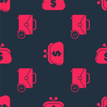 Set Briefcase and money and Wallet with dollar on seamless pattern. Vector