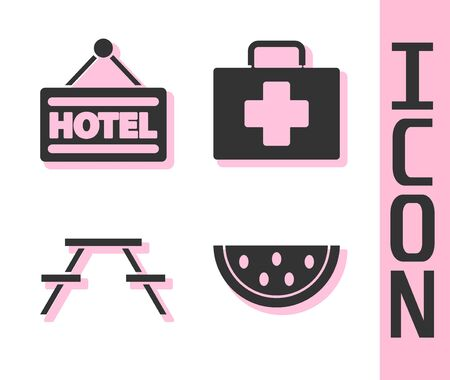 Set Watermelon, Signboard with text Hotel, Picnic table with benches and First aid kit icon. Vector. Illustration