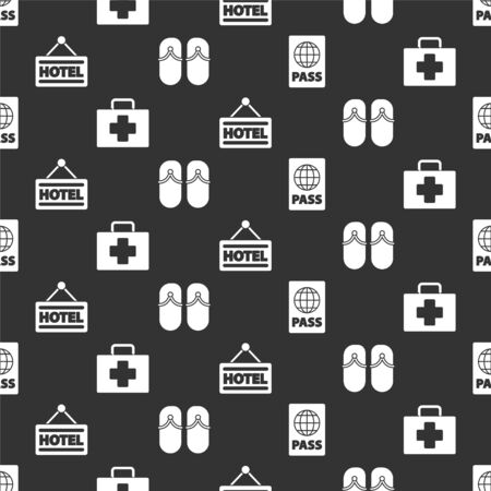 Set Passport, First aid kit, Signboard with text Hotel and Flip flops on seamless pattern. Vector.