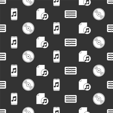 Set Sound mixer controller, Vinyl disk, Music player and Music book with note on seamless pattern. Vector