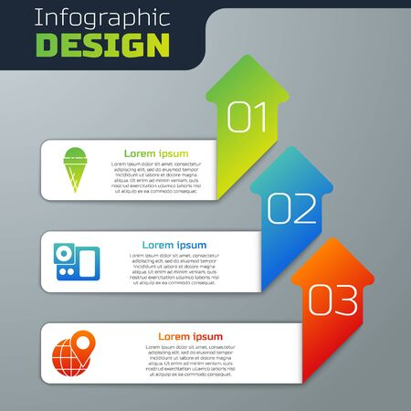 Set Ice cream in waffle cone, Photo camera and Location on the globe. Business infographic template. Vector.