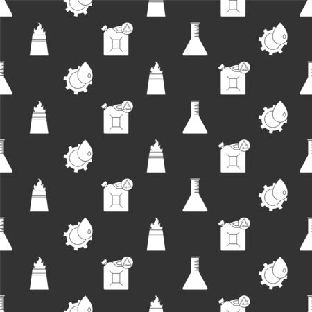 Set Oil petrol test tube, Oil industrial factory building, Oil rig with fire and Eco fuel canister on seamless pattern. Vector.