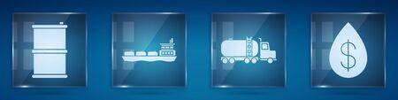 Set Barrel oil, Oil tanker ship, Tanker truck and Oil drop with dollar. Square glass panels. Vector. Illustration