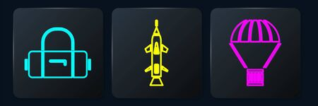 Set Isometric Suitcase, Box flying on parachute and Rocket icon. Vector
