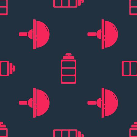 Set Light emitting diode and Battery charge level indicator on seamless pattern. Vector. Illustration