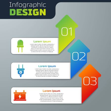 Set Light emitting diode, Electric plug and Car battery. Business infographic template. Vector.
