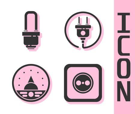 Set Electrical outlet, LED light bulb, Ampere meter, multimeter, voltmeter and Electric plug icon. Vector.
