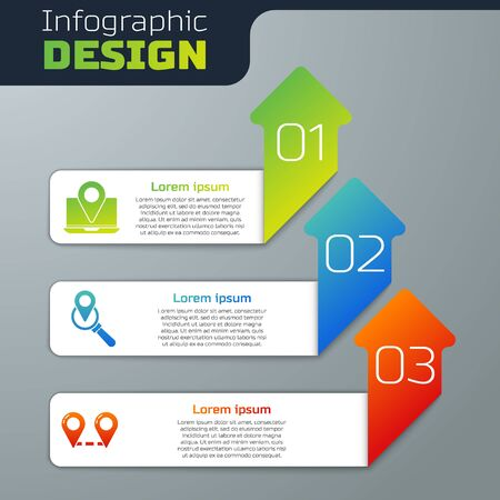 Set Laptop with location marker, Search location and Route location. Business infographic template. Vector.