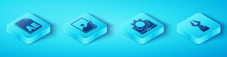 Set Isometric AE file document, Graphic tablet, Fountain pen nib and Laptop and gear icon. Vector.