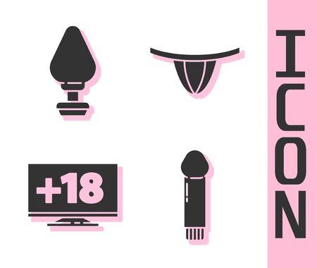 Set Dildo vibrator, Anal plug, Monitor with 18 plus content and Woman panties icon. Vector.