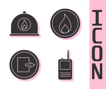 Set Walkie talkie, Firefighter helmet, Fire exit and Fire flame icon. Vector. Illustration