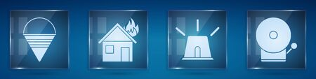 Set Fire cone bucket, Fire in burning house, Flasher siren and Ringing alarm bell. Square glass panels. Vector.